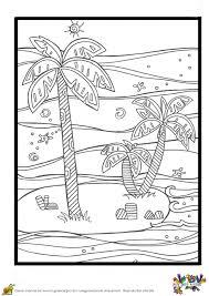 Coloriage Vacances Plage Et Palmiers Sur Hugolescargot Com