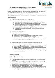 Friends International Team Leader Job Description