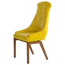 evander dining chair in yellow wool bouclé or leather with solid