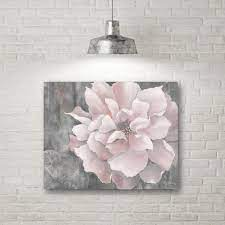 pink and gray magnolia canvas wall art