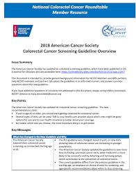 issue brief american cancer society colorectal cancer screening guideline