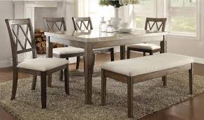 Salvage Brown White Marble Dining Table Set 6pcs Acme Furniture