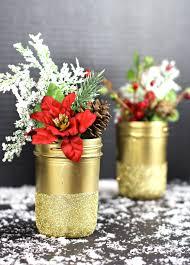 Gold Glittered Mason Jar Vases  #MadeWithMichaels