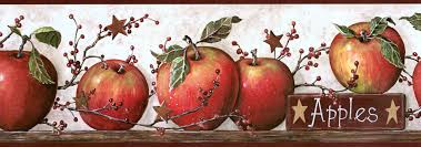 Country Kitchen Wallpaper Patterns Country Apples Peel And Stick Wall Decals Wallpaper Border