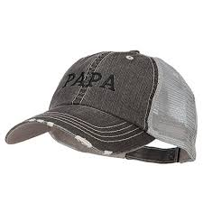 Papa Embroidered Low Profile Cotton Mesh Cap Black Osfm At