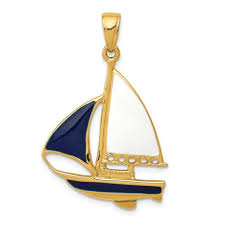 14k yellow gold 2 d blue and white enameled sailboat pendant 1 2inx0