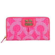 Coach Dot Logo Monogram Large Pink Wallets EDI