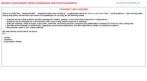 secret code expert work experience letter