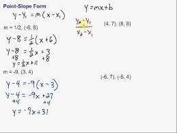 writing equations in point slope form