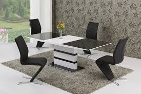 small extending black glass white gloss dining table and 6 chairs set