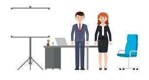 desk flip smart business man and woman standing near office desk flip chart and chair desk flip