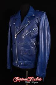 men s brando slim fit blue washed lambskin real genuine soft leather motorcycle motorbike biker jacket