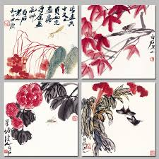 chinese style qi baishi decoration flower trees mantis wall art pictures insect erfly canvas painting living