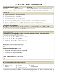 Unemployment Effects On The Economy Lesson Plan