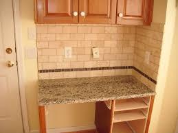 Backsplash For Small Kitchen Rustice Beige Subway Tile Backsplash With Skinny Trim Row Placed