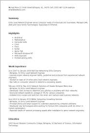 Network Engineer Resume Fascinating Professional Entry Level Network Engineer Templates To Showcase Your