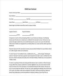 Daycare Form Enchanting Sample Daycare Contract Forms 44 Free Documents In Word PDF
