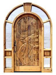 wooden front doors. Custom Doors Carved Wood Front Entry Fishing Theme Wooden Look Door L