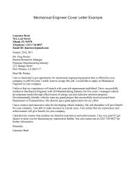 Mechanical Engineering Cover Letter Examples Cover Letter Sample