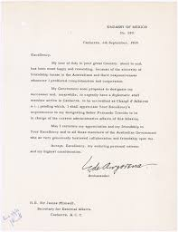 farewell letter from he mr eugenio de anzorena then mexican ambador to australia to the hon sir james plimsoll then australian secretary for external