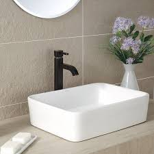 kraus kcv 121 white rectangular ceramic bathroom sink vessel sinks com