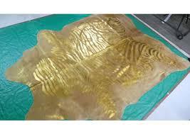 gold zebra print cowhide rug