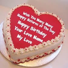 Write My Love Name Birthday Cute Cake Image Greeting Cards