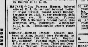 Iva Parsons Hauser - died 9/10/33 at home 2635 Highland Ave., Mt. Auburn -  Newspapers.com