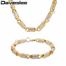 davieslee mens necklace bracelet hiphop jewelry set womens yellow gold color iced out chain stick bead