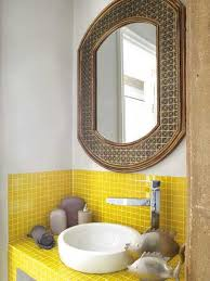yellow mosaic tiles for small bathroom design