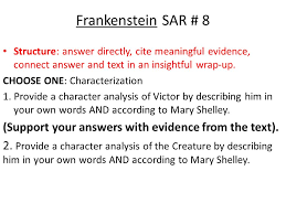 frankenstein s a r s short answer responses ppt  12 frankenstein
