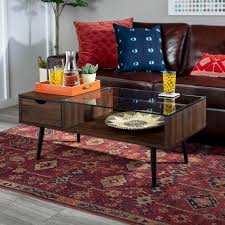 Home decorating tips & ideas. Walker Edison Furniture Company Mid 42 In Dark Walnut Large Rectangle Glass Coffee Table With Drawers Hdf42jmgldw The Home Depot