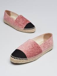 Chanel Espadrilles Size Chart Chanel Pink Velvet Fabric Cc Espadrilles Size 8 5 39