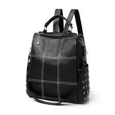 <b>women</b> lady <b>girls</b> school <b>leather backpack</b> outdoor travel portable ...