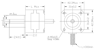 stepper motor nema 17 4500g cm makerlab electronics the following diagram shows the dimensions in mm