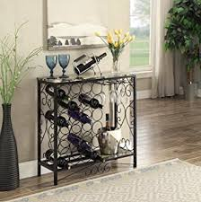 sofa table with wine storage. Black And Marble Look Top With 24 Bottles Glass Holder Wine Organizer Rack Cabinet Kitchen Sofa Table Storage G