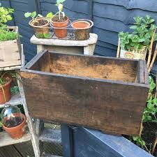 large old vintage wooden crate window box planter 1 of 5 see more