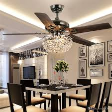 2018 crystal ceiling fan wood leaf antique fan light fan chandelier with remote control dining room living room pendant lamp from ok360 559 6 dhgate com