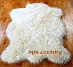 faux fur skin rug gy bright white sheepskin bear pelt throw new fake faux fur skin rug