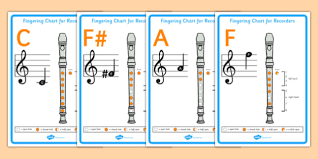 D Recorder Finger Chart Recorder Notes Display Posters Teacher Made