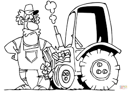 Small Picture Cartoon Farmer and His Tractor coloring page Free Printable