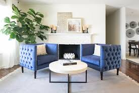 innovative white sitting room furniture top. Beautiful Blue Tufted Accent Chairs With White Brick Fireplace In For Living Room Innovative Sitting Furniture Top