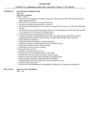 Showroom Coordinator Resume Sample
