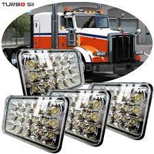 Peterbilt 379 Rear Light Bar Details About 4pcs Led Headlights For Peterbilt 357 378 379 Rectangular Headlights Hid Bulbs