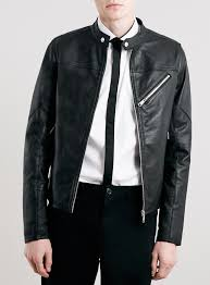 topman black collarless leather biker jacket