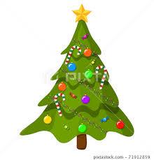 christmas tree with ornaments cartoon
