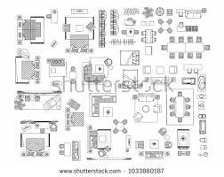 floor plan furniture symbols bedroom. Modren Floor Top View Of Set Furniture Elements Outline Symbol For Bedroom Kitchen  Bathroom Dining Throughout Floor Plan Furniture Symbols Bedroom A