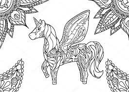 Eenhoorn Met Mandala En Paisley Sieraad Horizontale Volwassen