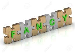 fancy word for green fancy word of gold puzzle and silver puzzle on a white background