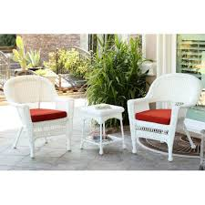 white resin wicker patio chairs. Jeco 3-Piece White Resin Wicker Patio Chairs And End Table Furniture Set - Red O
